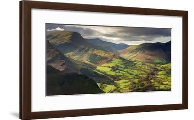 Rich autumn sunlight illuminates Newlands Valley in the Lake District, Cumbria, England.-Adam Burton-Framed Photographic Print