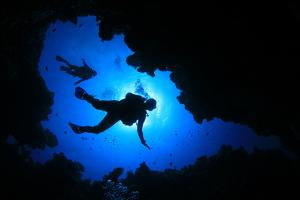 Scuba Diving in Cave by Rich Carey