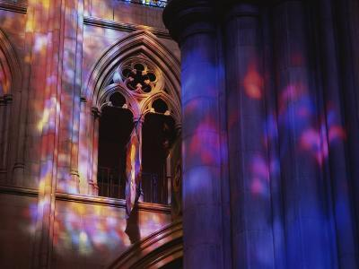Rich Colors Projected from Stained Glass Windows onto Walls-Stephen St^ John-Photographic Print