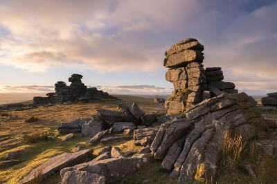 Rich Evening Sunlight at Great Staple Tor, Dartmoor National Park, Devon, England. Winter (January)-Adam Burton-Photographic Print
