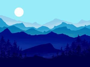 Blue Mountains, Evergreens and the Blue Moon by Rich LaPenna
