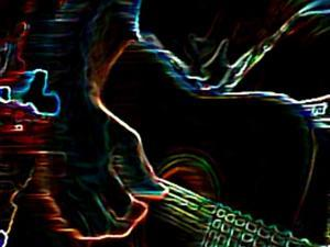 Fingers Pick at Multicolor Guitar by Rich LaPenna