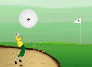 Golfer Strokes Ball Out of Sand Trap by Rich LaPenna