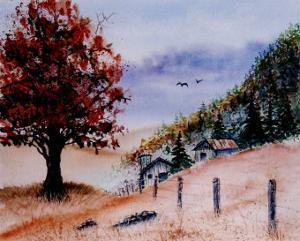 Huge Orange Tree in Foreground, Two Barns and Fence in Background by Rich LaPenna
