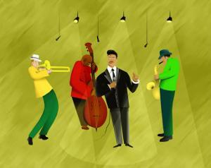 Jazz Band in Spotlights by Rich LaPenna