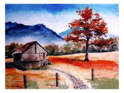 Kentucky Barn with Blue Mountains in Background