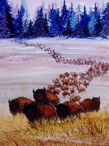 Large Herd of Bison Cross a Vast Plain by Rich LaPenna