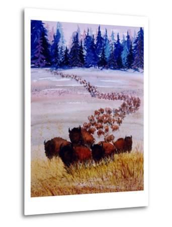 Large Herd of Bison Cross a Vast Plain