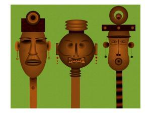 Men and Women Totem in African Masks by Rich LaPenna