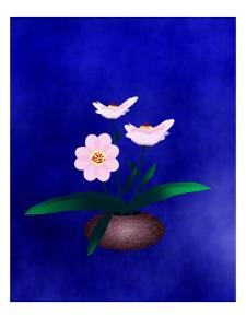 Pink Flower in Vase on Blue Background by Rich LaPenna