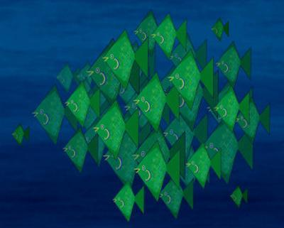 School of Green Triangle Fish on Blue Underwater Background by Rich LaPenna