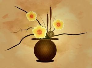 Three Yellow and Red Flowers in Vase with Cattail and Lotus Flower by Rich LaPenna