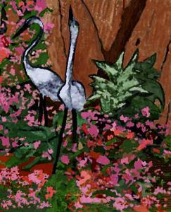 Two Heron Hunt Amongst Flowers by Rich LaPenna