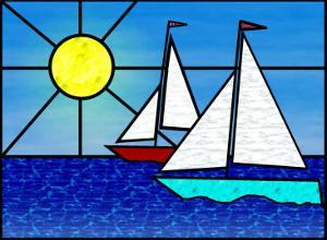 Two Sailboats Face the Sun by Rich LaPenna