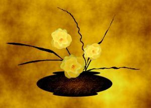 Vase of Three Yellow Flowers on Gold Background by Rich LaPenna