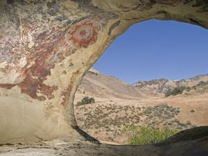Abstract Chumash Pictographs Above a Cave Entrance by Rich Reid