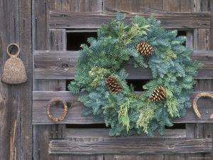 Horseshoes and Holiday Wreath on Arroyo Hondo Stables, California by Rich Reid