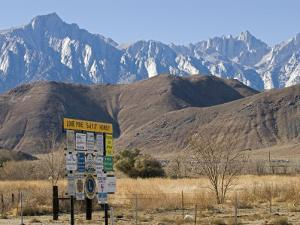Lone Pine Sign and Mount Whitney from Highway 395 in Lone Pine, California by Rich Reid