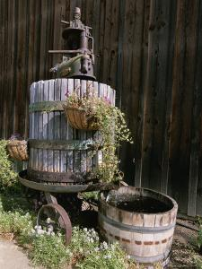 Oak Barrel and Grape Press Fountain at Harmony Winery by Rich Reid