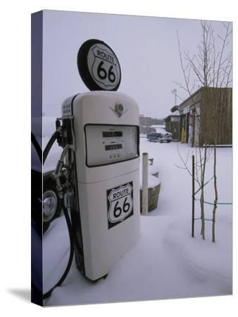 Snow-Covered Gas Pump on Historic Route 66