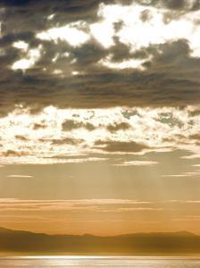 Sun Rays and Clouds over Santa Cruz Island, California by Rich Reid