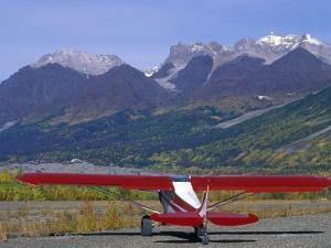 Supercub and the Wrangell Mountains in Mccarthy, Alaska by Rich Reid