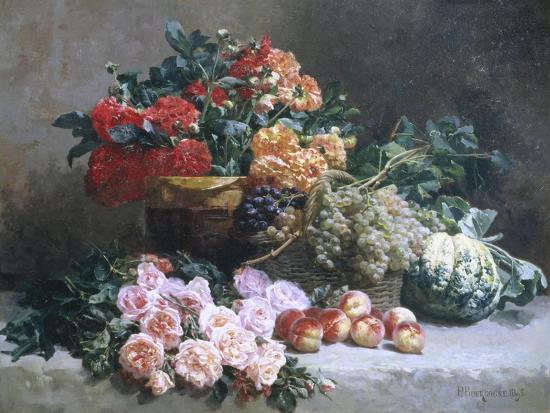 Rich Still Life of Fruit and Flowers-Pierre Bourgogne-Giclee Print