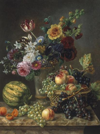 Rich Still Life Of Fruit And FlowersBy Marie Josephine Hellemans