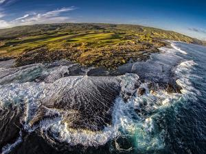 Aerial of Kaehu Point of Nature Conservancy, in the Mo'Omomi Preserve, North Shore, Molokai, Hawaii by Richard A Cooke III