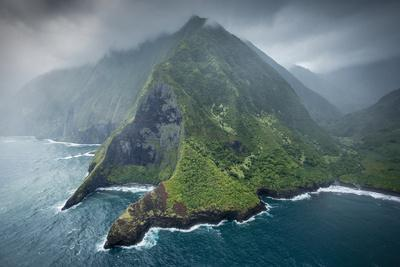 Aerial of Pelekunu Valley in Storm, Along North Shore Cliffs, Molokai, Hawaii