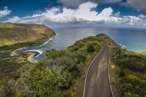 Aerial of Road into Halawa Valley, Molokai, Hawaii by Richard A Cooke III