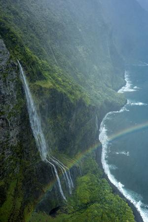 Aerial of Waiehu Waterfall in Storm, Along North Shore Cliffs, Molokai, Hawaii