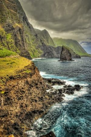 Kukaiwawa Peninsula on the North Shore of Molokai, with North Shore Cliffs in the Background by Richard A. Cooke Iii.
