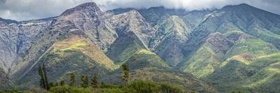 Panorama from Kamalo Wharf Looking Along Valleys of East Molokai, Hawaii