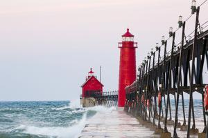 Grand Haven South Pier Lighthouse at Sunrise on Lake Michigan, Ottawa County, Grand Haven, Michigan by Richard and Susan Day