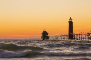 Grand Haven South Pier Lighthouse at Sunset on Lake Michigan, Ottawa County, Grand Haven, Mi by Richard and Susan Day