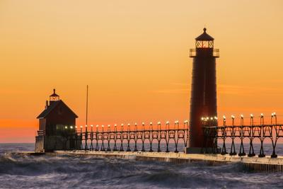 Grand Haven South Pier Lighthouse at Sunset on Lake Michigan, Ottawa County, Grand Haven, Michigan