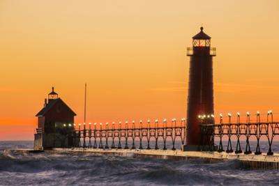 Grand Haven South Pier Lighthouse at Sunset on Lake Michigan, Ottawa County, Grand Haven, Michigan by Richard and Susan Day