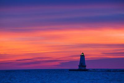Ludington North Pierhead Lighthouse at Sunset on Lake Michigan, Mason County, Ludington, Michigan