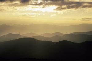 Sunset and Mountains Along Blue Ridge Parkway, North Carolina by Richard and Susan Day