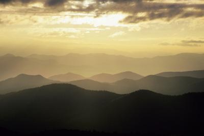 Sunset and Mountains Along Blue Ridge Parkway, North Carolina by Richard and Susan Day