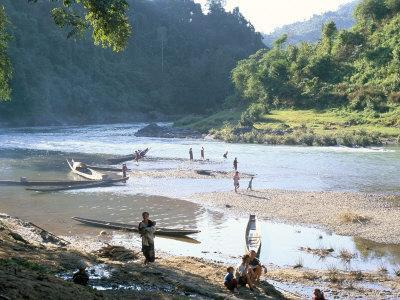 Villagers on Banks of Nam Tha River, a Tributary of the Mekong, South of Luang Nam Tha, Indochina