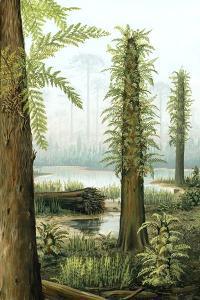 Cretaceous Tree Ferns, Artwork by Richard Bizley