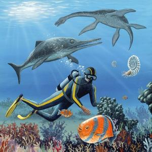 Diver And Prehistoric Life, Artwork by Richard Bizley
