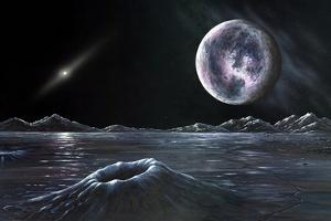 Pluto Seen From Charon, Artwork by Richard Bizley