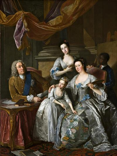 Richard Boyle, 3rd Earl of Burlington and 4th Earl of Cork, with His Wife Dorothy Savile and…-Jean-Baptiste van Loo-Giclee Print