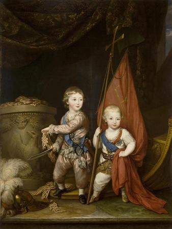 Portrait of Grand Dukes Alexander Pavlovich and Constantine Pavlovich, as Children, 1781