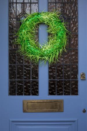 Wreath on Front Door of Edwardian House, London