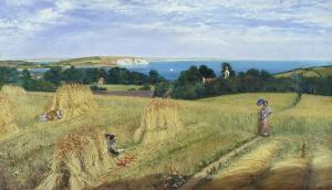 Sandown Bay, Isle of Wight to Culver Cliff with a Cornfield in the Foreground, c.1850 by Richard Burchett