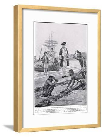 Captain Cook Landing in Tasmania, 1777, Illustration from 'Hutchinson's Story of the British…